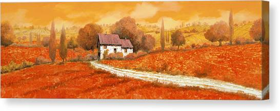 Olive Oil Canvas Print - Rosso Papavero by Guido Borelli