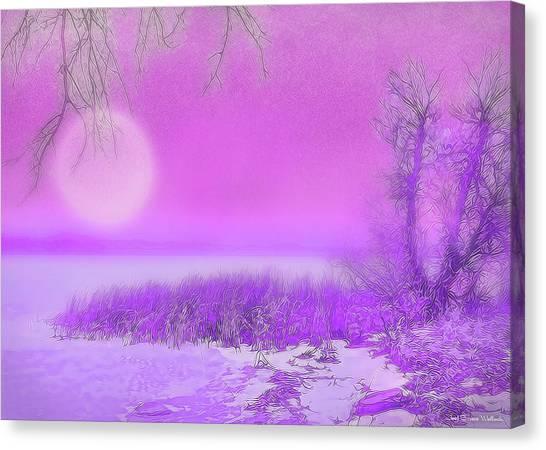 Rosy Hued Moonlit Lake - Boulder County Colorado Canvas Print