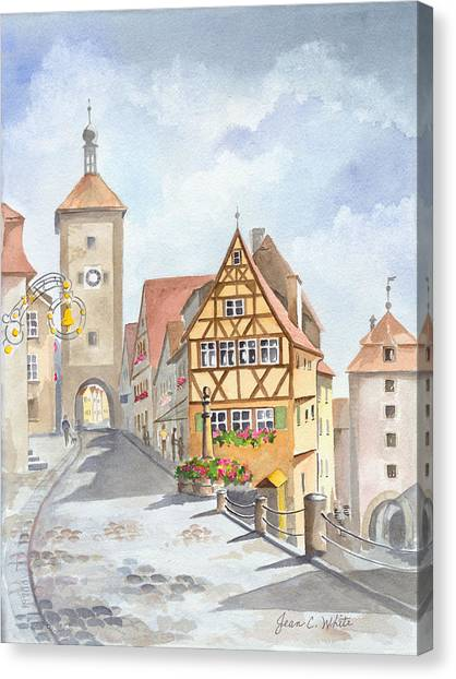 German Canvas Print - Rothenburg In Germany by Jean Walker White