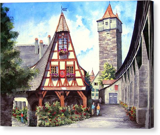 German Canvas Print - Rothenburg Memories by Sam Sidders