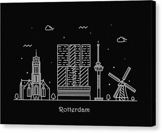 Nederland Canvas Print - Rotterdam Skyline Travel Poster by Inspirowl Design