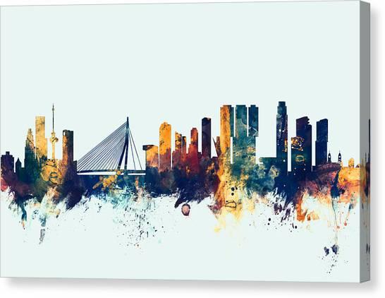 The Netherlands Canvas Print - Rotterdam The Netherlands Skyline by Michael Tompsett