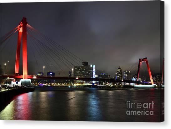 Rotterdam - Willemsbrug At Night Canvas Print