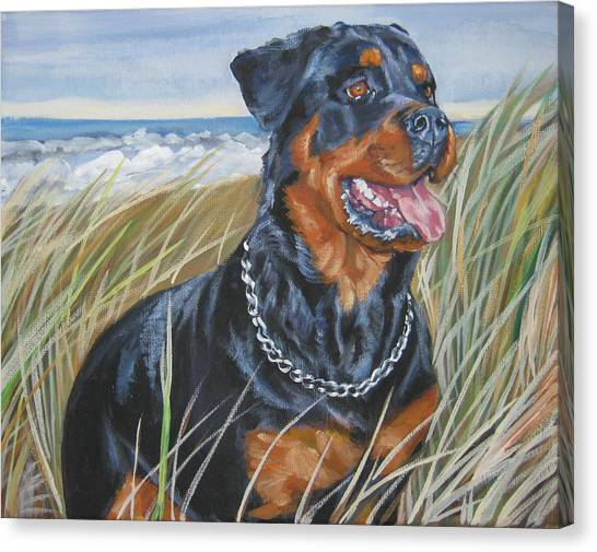 Rottweilers Canvas Print - Rottweiler At The Beach by Lee Ann Shepard
