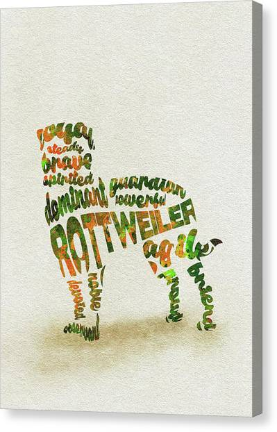 Watercolor Pet Portraits Canvas Print - Rottweiler Dog Watercolor Painting / Typographic Art by Inspirowl Design