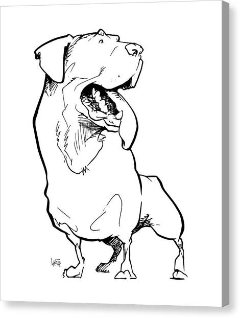 Rottweilers Canvas Print - Rottweiler Gesture Sketch by John LaFree