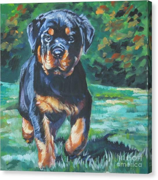 Rottweilers Canvas Print - Rottweiler Pup by Lee Ann Shepard