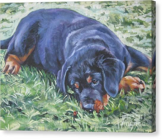 Rottweilers Canvas Print - Rottweiler Puppy by Lee Ann Shepard