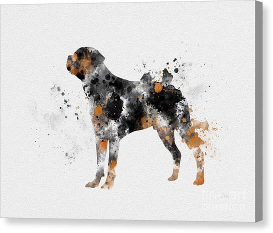 Dogs Canvas Print - Rottweiler by Rebecca Jenkins