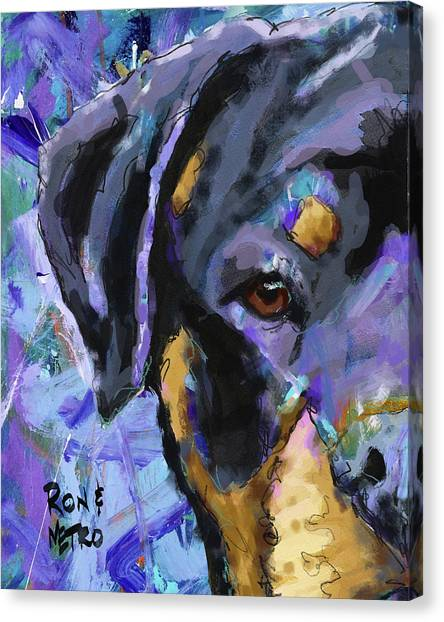 Rottweilers Canvas Print - Rottweiler by Ron and Metro
