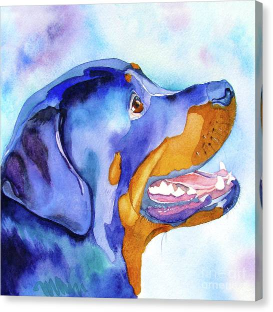 Rottweilers Canvas Print - Rotty Rottweiler Blues by Jo Lynch