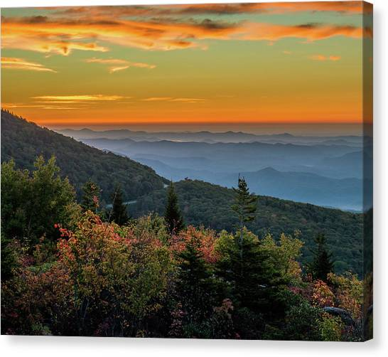 Rough Morning - Blue Ridge Parkway Sunrise Canvas Print