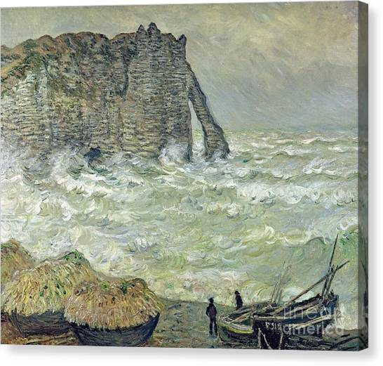 Etretat Canvas Print - Rough Sea At Etretat by Claude Monet