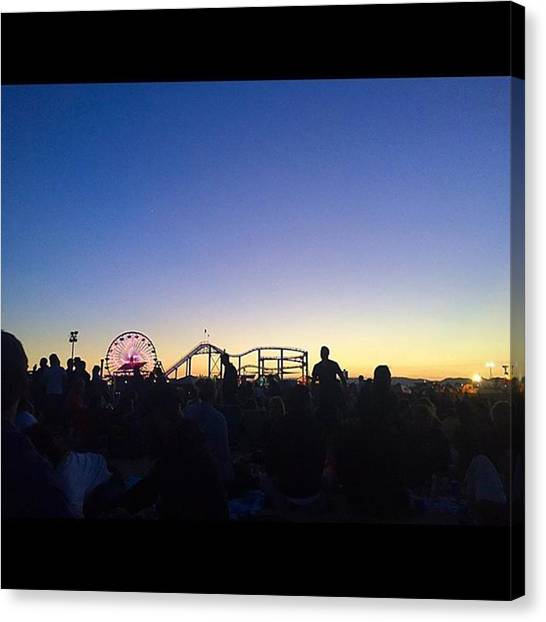 Santa Monica Pier Canvas Print - Santa Monica Pier Twilight Series  by Roomana Patel