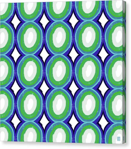 Diamonds Canvas Print - Round And Round Blue And Green- Art By Linda Woods by Linda Woods