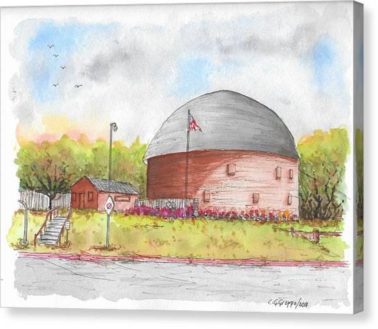 Round Barn In Route 66, Arcadia, Oklahoma Canvas Print