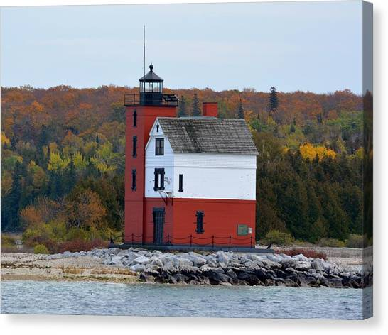 Round Island Lighthouse In October Canvas Print