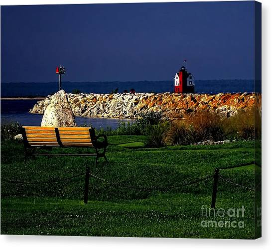 Round Island Lighthouse Mackinac Island Michigan Canvas Print