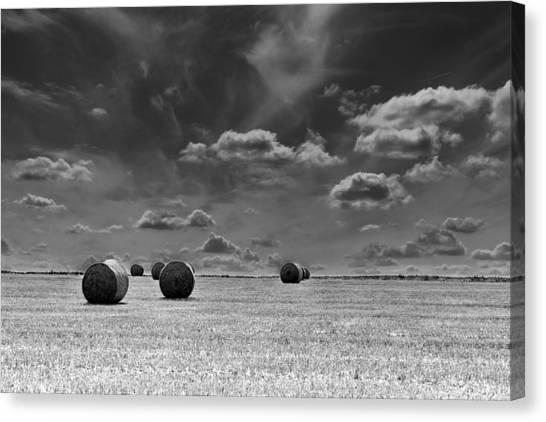 Round Straw Bales Landscape Canvas Print