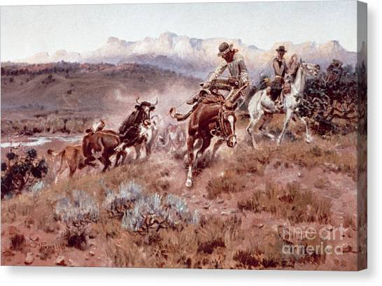 Lassos Canvas Print - Round Up On The Musselshell  by Charles Marion Russell