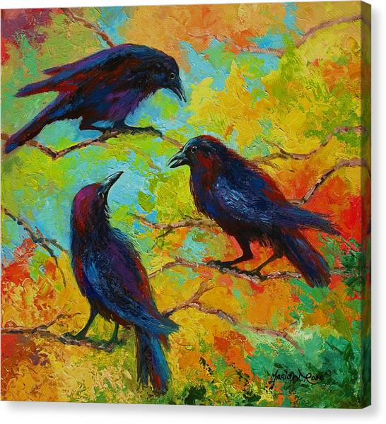 Ravens Canvas Print - Roundtable Discussion - Crows by Marion Rose