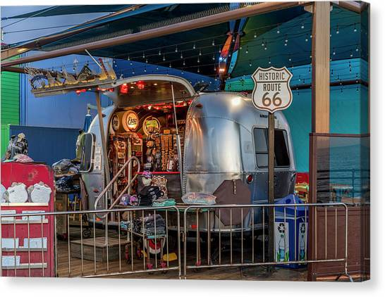 Route 66 And Airstream On Tha Pier Canvas Print