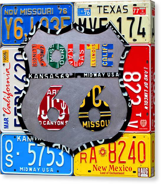 Highways Canvas Print - Route 66 Highway Road Sign License Plate Art by Design Turnpike