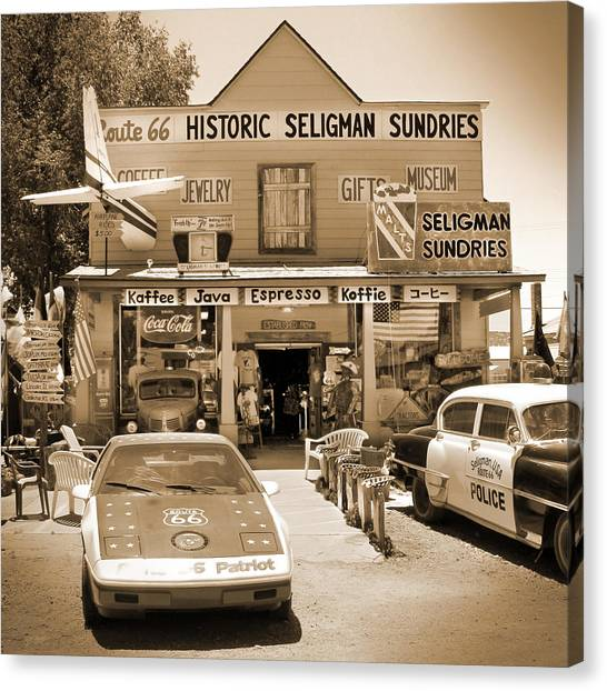 Southwest Canvas Print - Route 66 - Historic Sundries by Mike McGlothlen