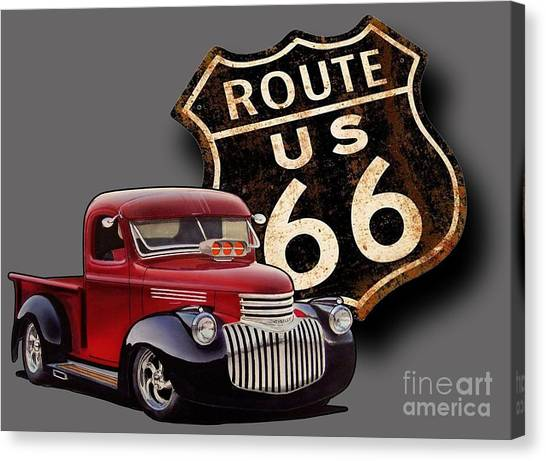 Rusty Truck Canvas Print - Route 66 Pickup by Paul Kuras