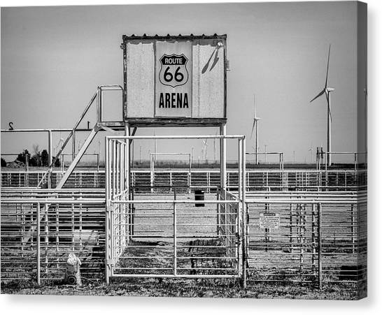 Barrel Racing Canvas Print - Route 66 Ranch Rodeo Arena - #2 by Stephen Stookey