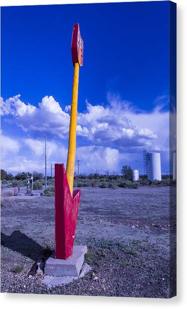 Timeworn Canvas Print - Route 66 Red Arrow by Garry Gay