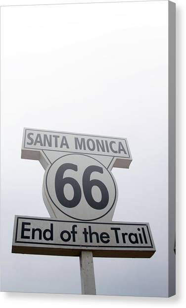 Santa Monica Canvas Print - Route 66 Santa Monica- By Linda Woods by Linda Woods