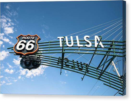 Canvas Print featuring the photograph Route 66 Tulsa Vintage Street Art  by Gregory Ballos