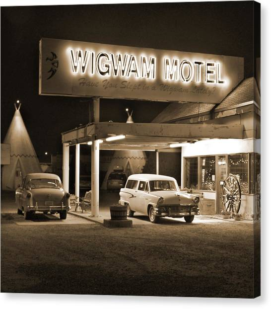 Southwest Canvas Print - Route 66 - Wigwam Motel by Mike McGlothlen