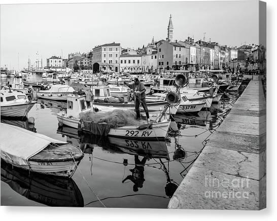 Rovinj Fisherman Working In Old Town Harbor - Rovinj, Istria, Croatia Canvas Print