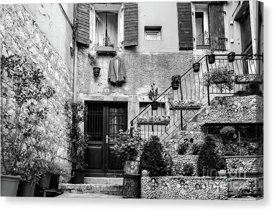 Rovinj Old Town Courtyard In Black And White, Rovinj Croatia Canvas Print