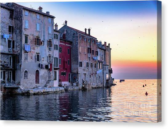 Rovinj Old Town On The Adriatic At Sunset Canvas Print