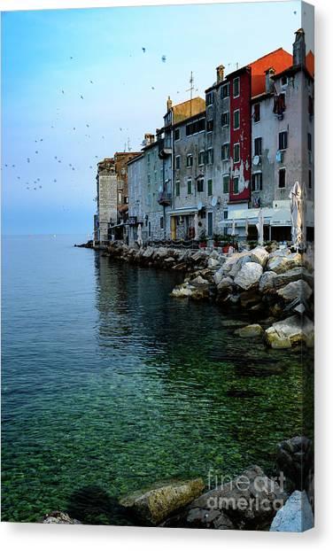 Rovinj Venetian Buildings And Adriatic Sea, Istria, Croatia Canvas Print