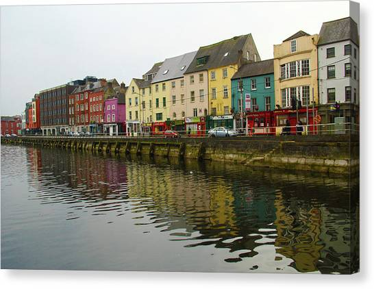 Row Homes On The River Lee, Cork, Ireland Canvas Print
