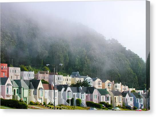 Row Houses In Fog Canvas Print