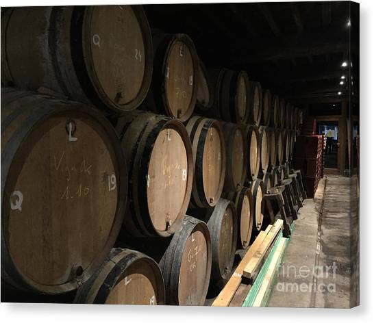 Craft Beer Canvas Print - Row Of Barrels by Evan N