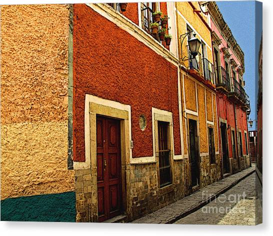 Row Of Casas Guanajuato Canvas Print by Mexicolors Art Photography