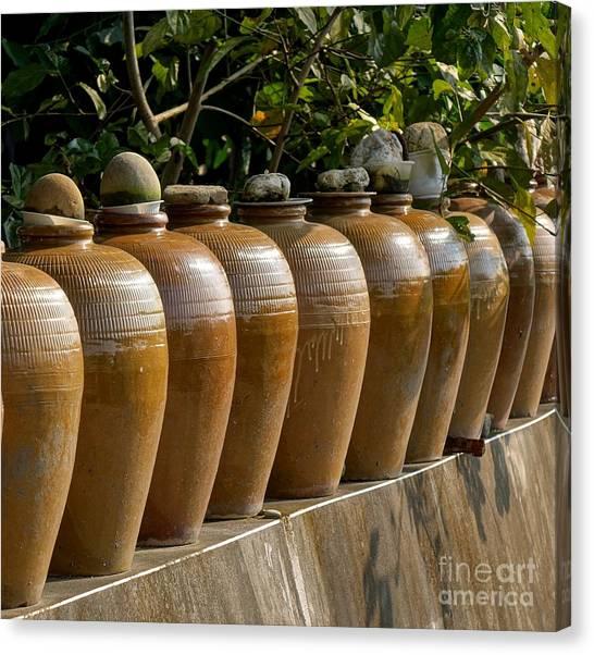 Crock Canvas Print - Row Of Pickling Jars by Yali Shi