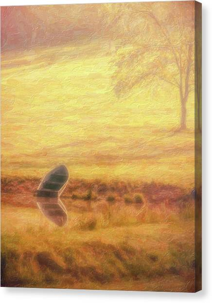 Sundown Canvas Print - Rowboat by Tom Mc Nemar