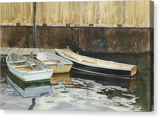 Dinghy Canvas Print - Rowboat Trinity by Marguerite Chadwick-Juner