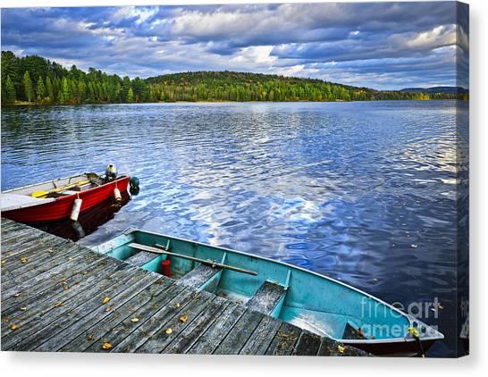 Algonquin Park Canvas Print - Rowboats On Lake At Dusk by Elena Elisseeva