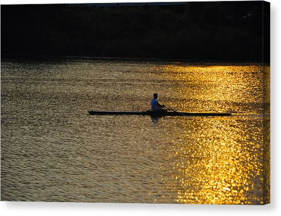 Rowing Canvas Print - Rowing At Sunset by Bill Cannon