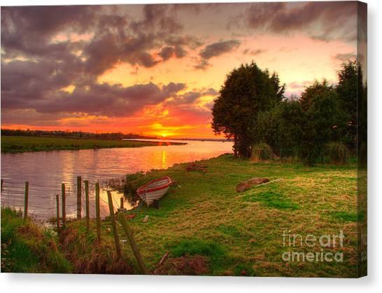 Rowing Boat At Bannfoot Loughneagh Canvas Print by Kim Shatwell-Irishphotographer