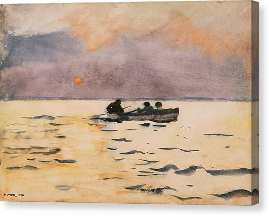 Winslow Canvas Print - Rowing Home by Winslow Homer