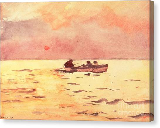 Calm Down Canvas Print - Rowing Home by Winslow Homer
